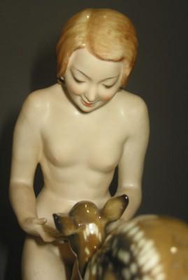 Hutschenreuther Frau mit Reh von Carl Werner