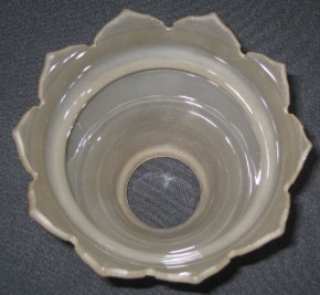 Jugendstil Glasschirm satiniert spitzer Wellenrand (21)