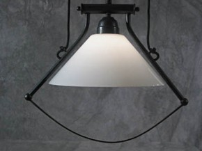 Zuglampe Messing 1flammig mit Bügel Jugendstil