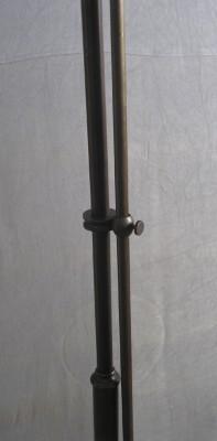 Stehlampe Messing 2flammig mit cognacfarbenen Glas