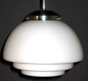 Deckenpendel Bauhaus verstellbar verchromt, Halbkugel abgestuft opal