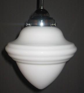 Deckenlampe Bauhaus verchromt Stange Saturnglas (20 cm)
