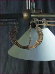 Zuglampe Messing 2flammig Jugendstil verstellbare Glashalter