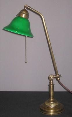 Messingtischlampe verstellbar opal-weißes Glas